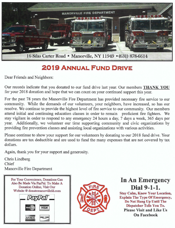 Vehicle Service Department Letter >> Manorville Fire Department 2019 Annual Fund Drive Now In